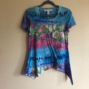 Leoma Lovegrove boutique parakeet bird shirt small